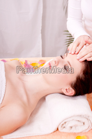 young brunette woman having a relaxing