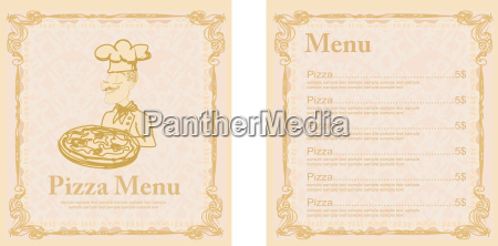 chef with pizza menu restaurant