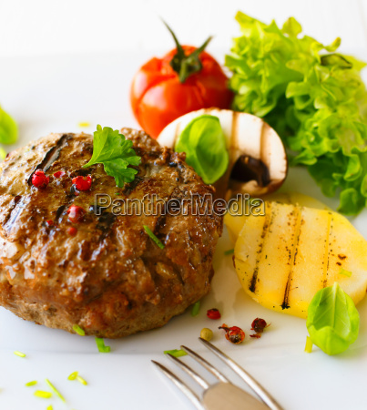 grilled patty and vegetable