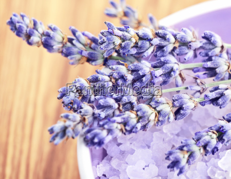lavender flowers and bath salt