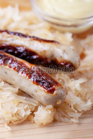 grilled sausages with sauerkraut
