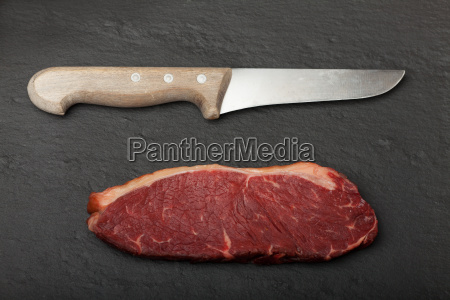 raw steak and cutlery