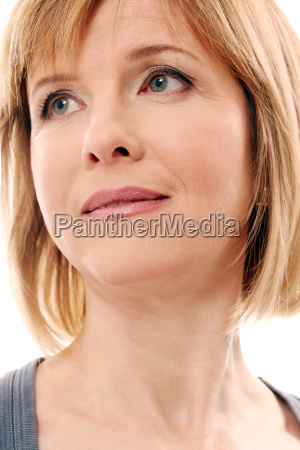 beautiful middleaged woman on a white