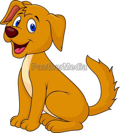 cut dog cartoon sitting