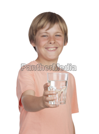 thirsty adolescent with water for drink