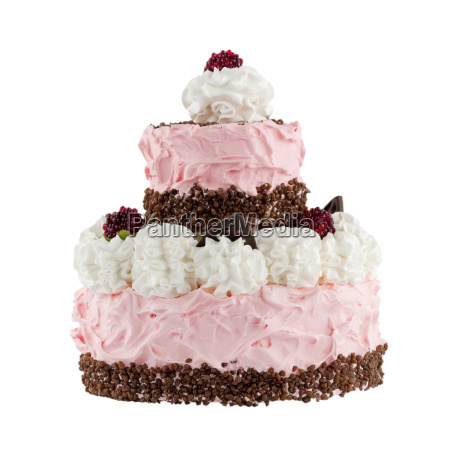 cake with raspberries clipping path