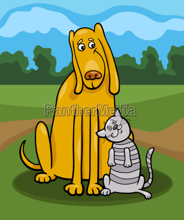 dog and cat in friendship cartoon
