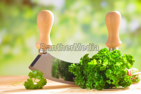 fresh parsley with a chopping blade