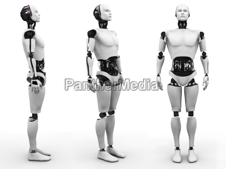 male robot standing three different angles