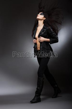 runway fashion model walking on podium