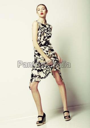 slender elegant female in contemporary stylish