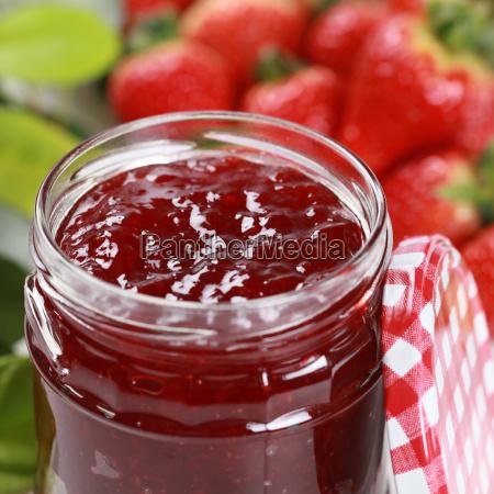 strawberry jam in glass