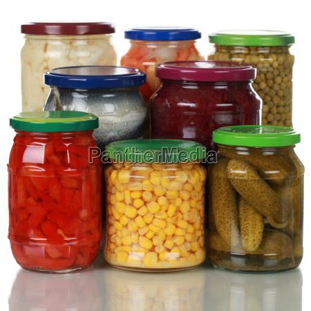 preserved vegetables in jars