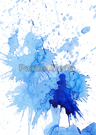 blue blob and spatter on white