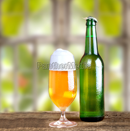 fresh beer with window background