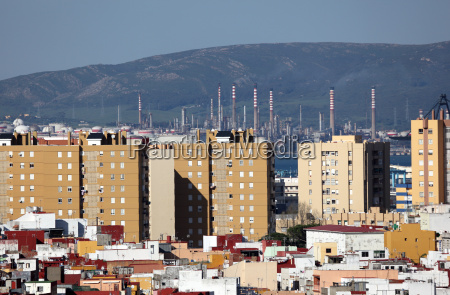city of algeciras with oil refinery