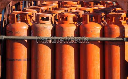big propane gas bottles at the