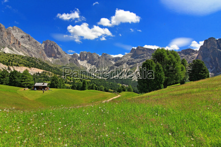 mountains dolomites alp rock meadow firmament