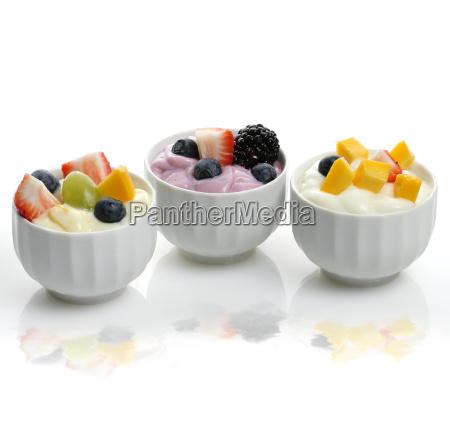 yogurt assortment with fruits and