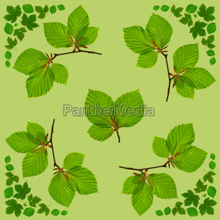 napkin with green leaves on background