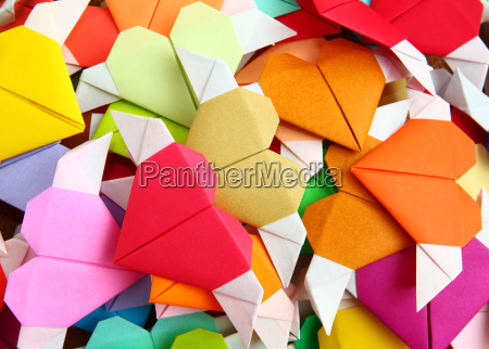 heap of origami colorful heart