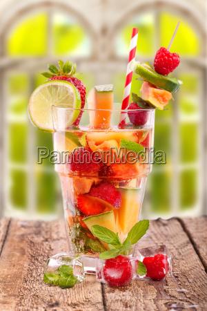 fresh fruit bowl in summer