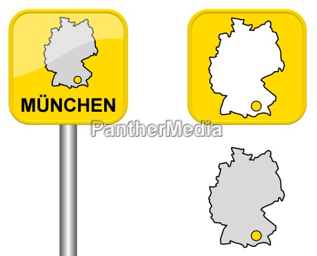 sign germany map and button from