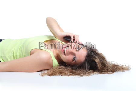 happy woman lying down and laughing