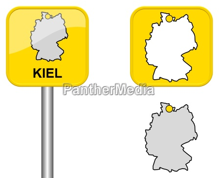 sign germany map and button of