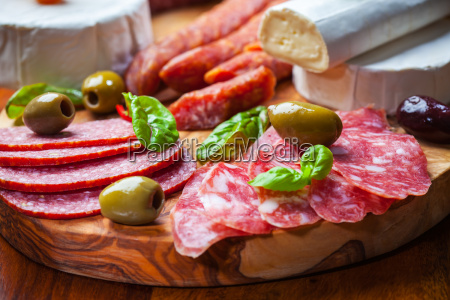 salami catering platter with different meat