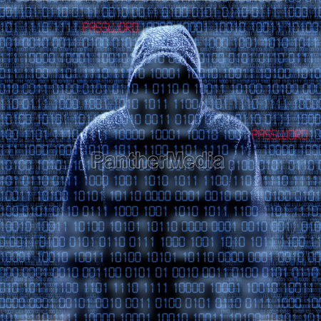 silhouette of a hacker isloated on