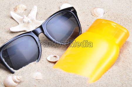 sun protection and sunglasses on a