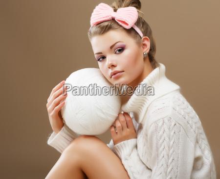 hosiery beautiful teen in handmade woven