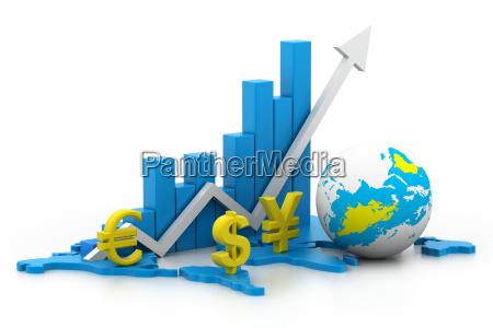 3d illustration of render world business