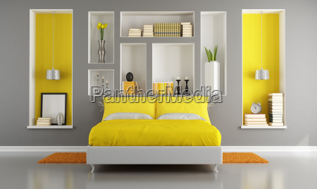 yellow and gray modern bedroom