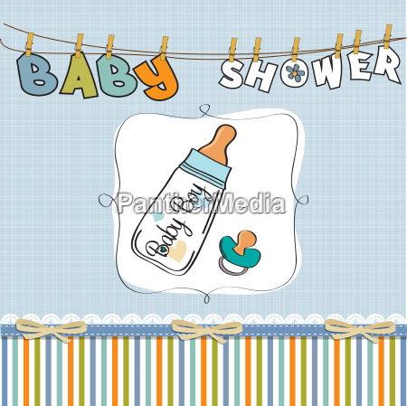 baby announcement card with milk bottle