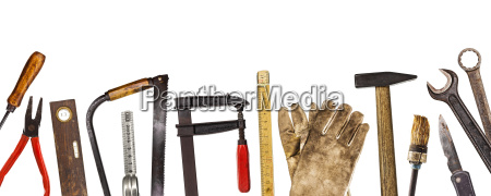 old tools isolated on white