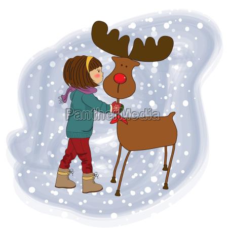 christmas card with cute little girl