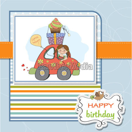 birthday card with funny little girl