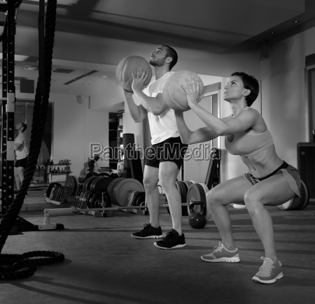 crossfit ball fitness workout group woman