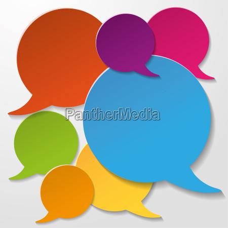 colorful communication speech bubbles white background