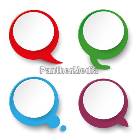 four speech bubble labels