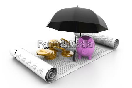 piggy bank and dollar coins under