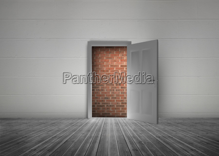 door open to reveal red brick