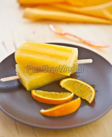 orange ice popsicles