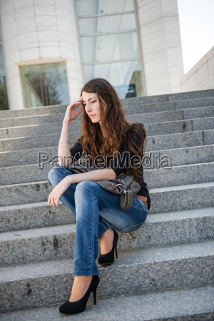 problems young woman outdoor portrait