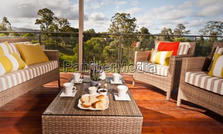 dinner table on a covered verandah