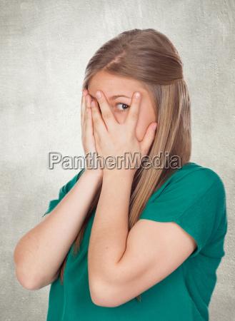 beautiful shy girl with green t