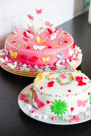 delicious colorful decorated white and pink