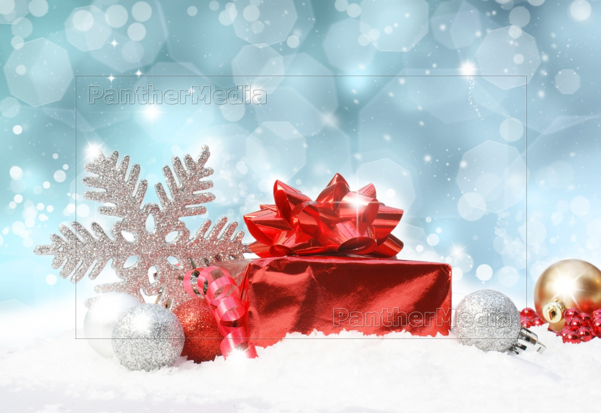 Royalty Free Image 9334710 Christmas Decorations On Blue Glittery Background